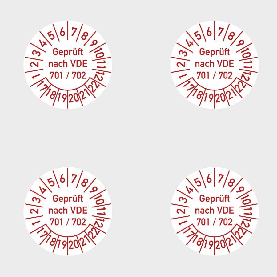 """Beispiel Aufkleber/Etiketten """"geprüft VDE 701/702"""""""