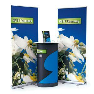 Messestand RETE Economy als Beispiel für mobile Präsentationslösungen von Medienhaus RETE