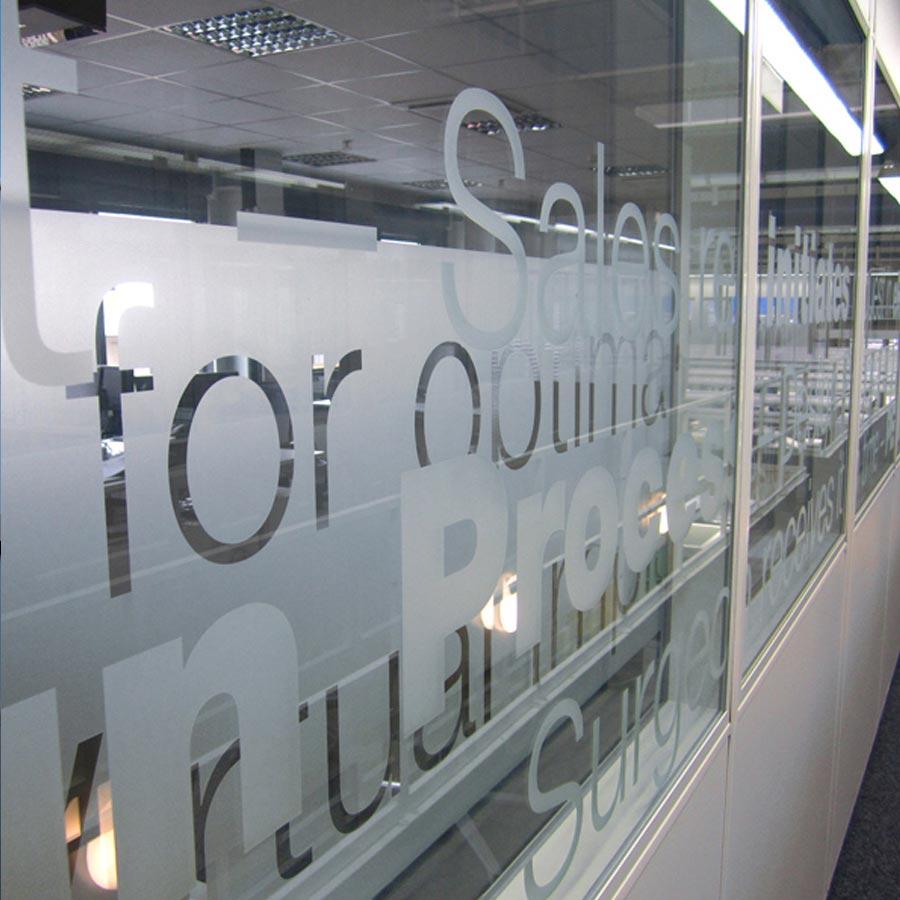 Beispiel für Glasdekorfolie - Fensterverklebung von RETE