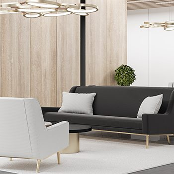 hochwertige Dekorfolie Comfortable waiting area with chairs and wooden wall. Workplace and lifestyle concept. 3D Rendering