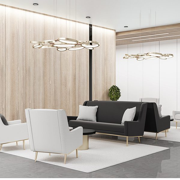 Comfortable waiting area with chairs and wooden wall. Workplace and lifestyle concept. 3D Rendering