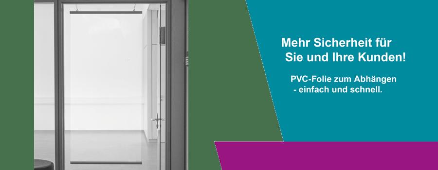 PVC Banner zum Abhängen Abstand halten Aufhängung als Schutzwand in Freiburg