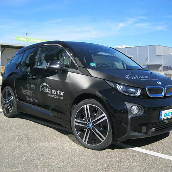 Werbefolierung BMW Elektrofahrzeug Firmenwagen Folierung