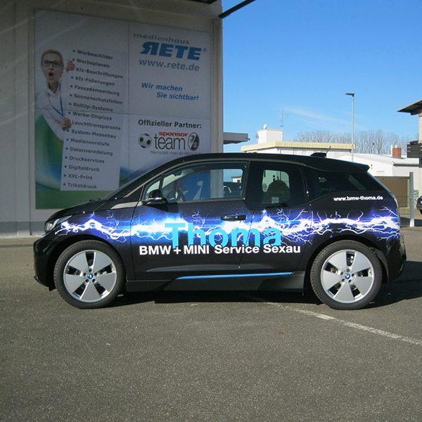Werbefolierung Elektrofahrzeug bmw Firmenwagen Folierung