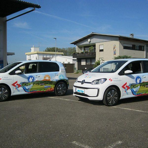 Werbefolierung VW up Firmenwagen Folierung Elektrofahrzeug