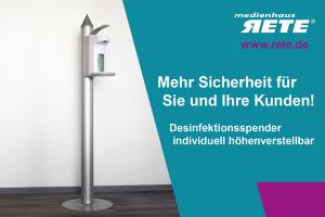 Desinfektionsspender zum AufstellenDesinfektionsschutz FreiburgHygieneschutz mit Desinfektion