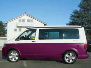 VW_T6_seitlich_lila Fahrzeug bekleben