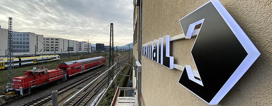 3D-Logo Freiburg beleuchtet